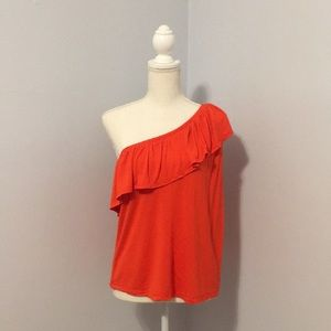 One Shoulder Orangish-Red Old Navy Top